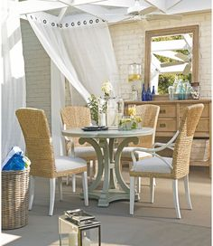 Pedestal table and seagrass chairs