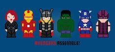 The Avengers Cross-Stitch Pattern Geek Cross Stitch, Modern Cross Stitch, Cross Stitch Patterns, Cross Stitching, Cross Stitch Embroidery, Hand Embroidery, Iron Man, Deadpool, Geek Crafts