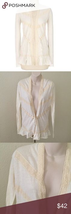 "Guinevere Anthropologie Lace Ruffle Cardigan XS This is a beautiful Anthropologie Guinevere Lace Cardigan. Size extra small. Cream 100% cotton. Length 25"" bust 34"". No flaws. Anthropologie Sweaters Cardigans"