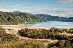 Waiharakeke Bay seen on Abel Tasman Coastal Track in Abel Tasman National Park on New Zealand's South Island. Photo by John Strother.