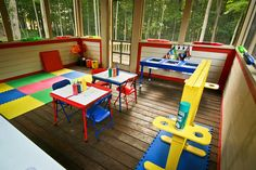 Inspiring Playspace: Screened-In Porch Turned Preschool Room/Play space Preschool Rooms, Preschool At Home, Preschool Classroom, Teach Preschool, Preschool Ideas, Daycare Rooms, Daycare Ideas, Kid Rooms, Outdoor Play Spaces