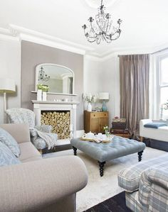 Colour Scheme Traditional Living Room, Taupe And Duck Egg Blue