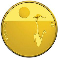 100 Dollar Gold Känguru bei Sonnenuntergang PP