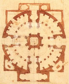 Plan for a Church by Michelangelo, Ink on paper   #TuscanyAgriturismoGiratola