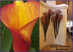 """""""six red callas"""" shaped wire mesh wall design by danridersculpture.com"""