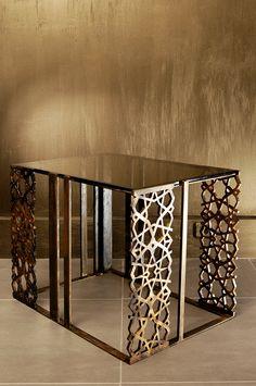 Seljukian Octagonal Small by Deniz Tunç. Metal and glass coffee table.