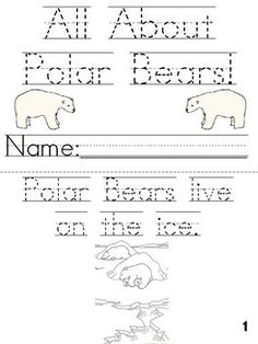 All About Polar Bears Cut Trace And Color Printable Book