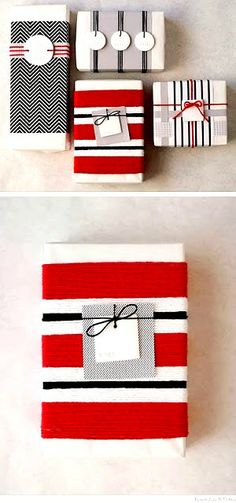 Christmas gift wrapping ideas DIY crafts ToniK ⓦⓡⓐⓟ ⓘⓣ ⓤⓟ #Christmas DIY #crafts black red white