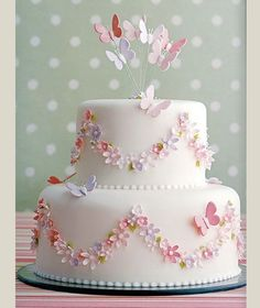 Wedding cake with butterflies and flowers. Instead in own wedding colours and…