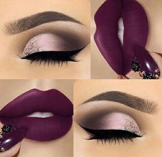 25 Ideas for makeup ideas purple lipstick make up Maquillage Kylie Jenner, Maquillage On Fleek, Cute Makeup, Gorgeous Makeup, Pretty Makeup, Easy Makeup, Flawless Makeup, Skin Makeup, Eyeshadow Makeup