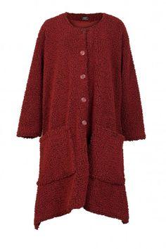 Shop AKH Plus Size Red Wool-Blend Boucle Coat from idaretobe UK online stockist. Boucle Coat, Plus Size Coats, Plus Size Designers, Winter Coat, Wool Blend, Hemline, Plus Size Fashion, Autumn, Pocket