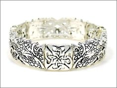 GRAPHICS /& MORE Horses Gridlock Silver Plated Bracelet with Antiqued Charm