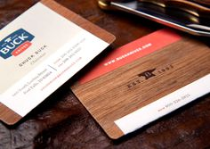 Design by Mint  Premium cards for company owners were printed on stickers wrapped around wood veneer.