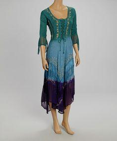 Look at this #zulilyfind! Blue & Sea Green Ombré Lace-Up Shift Dress #zulilyfinds