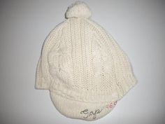 Baby Gap Toddler Size M/L 4-5 Years Beige Cable Knit Lined Winter Wool Blend Hat…