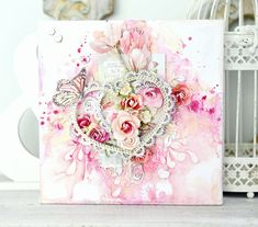 """'You Are Loved"""" Art Canvas by Stacy Young DT for 2Crafty Chipboard ~ Art Canvas."""