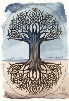 Odin's Runesong print, 16x23 in. giclee of watercolor calligraphy poem, tree of life. , via Etsy.