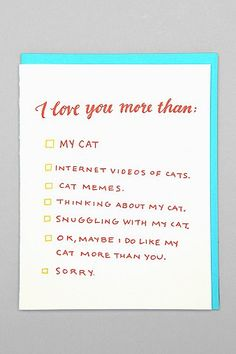 Ladyfingers Letterpress Love You More Card | Urban Outfitters