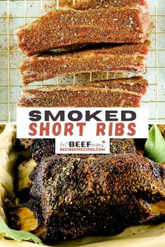 Smoked Beef Short Ribs are richly flavorful and so juicy. They're easy to prep and cook to fall-off-the-bone tender perfection! via @bestbeefrecipes Smoked Beef Short Ribs, Bbq Short Ribs, Best Beef Recipes, Rib Recipes, Smoker Recipes, Rib Marinade, Ribs Seasoning, Beef Ribs Recipe, Beef Appetizers