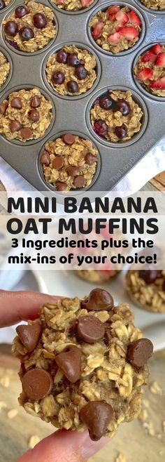 Healthy Banana Oat Muffins 3 Ingredients - The Lazy Dish Oat Muffins Healthy, Banana Oatmeal Muffins, Banana Oats, Oat Pancakes, Oats Recipes, Banana Recipes, Milk Recipes, Snack Recipes, Flour Recipes