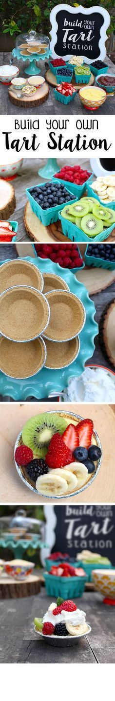 DIY Tart Station. Great idea for a dessert bar and for parties. Fun party dessert for Baby Showers, Bridal Showers, Mother's Day and Easter. More