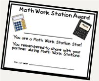 REWARDS FOR GOOD BEHAVIOR IN MATH WORKSTATIONS