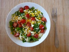 Salad made of green beans, spinach, cherry tomatoes, hardboiled egg and dresing from mustard, olive oil and lemon juice. yumm