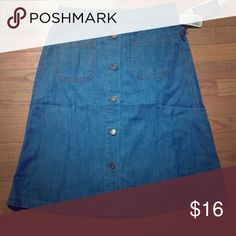 High Waisted Denim Button Down Skirt Brand new! It's super cute, but it's a little too big for me. My waist is a 29/30 and this skirt is more of a 31/32. It's really comfy and perfect for the summer. Please let me know if you have any questions  Forever 21 Skirts Midi