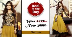 Deal of the day - Yellow and Black Faux Georgette #Anarkali #suit! Was Rs. 4,999, Now only Rs. 2,999! Grab your piece before the deal closes on 31th Aug 2014.  Order Now@ http://zohraa.com/yellow-faux-georgette-anarkali-suit-karmashilpashetty6014.html