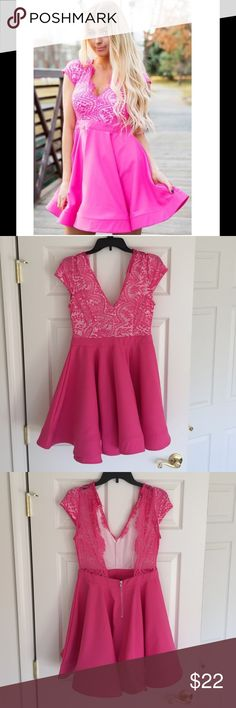 Boutique Fuschia Flare Dress Beautiful pop of color with swingy skirt, fun for dancing  Top is fully lined with button at neck. Partially open back with half zipper to lower back. Only worn once to a wedding. Purchased online from Lime Lush Boutique. Settledown Dresses Mini