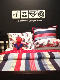 wall sticker spiderman on sale at reasonable prices, buy Wall Sticker Superhero BATMAN - A Super Boy Hero Sleeps Here Vinyl Wall Decal Sticker Boys Bedroom Decor from mobile site on Aliexpress Now!