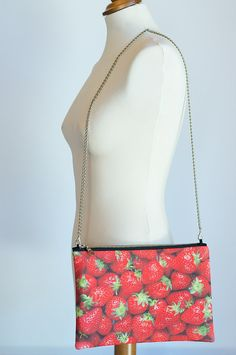 Clutch bag with strawberries on Etsy, $50.00