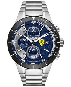 Scuderia Ferrari Men's Chronograph RedRev Evo Stainless Steel Bracelet Watch 46mm 0830270 - Men's Watches - Jewelry & Watches - Macy's