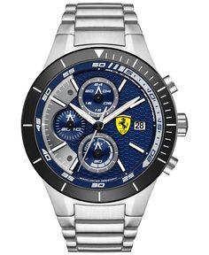 Scuderia Ferrari Men's Chronograph RedRev Evo Stainless Steel Bracelet Watch 46mm 0830270 - Men's Watches - Jewelry & Watches - Macy's