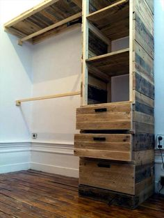 upcycled wooden pallet wardrobe installation