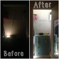 Adding light to your closet using rope light!