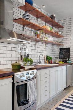 Trendy kitchen shelves modern home Kitchen Tile Diy, Kitchen Design Open, New Kitchen Cabinets, Rustic Kitchen Decor, Kitchen Shelves, Kitchen Flooring, Kitchen Backsplash, Open Shelves, Kitchen White