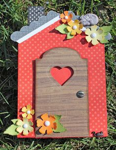 Adorable Little Red House greeting card by Sizzix UK designer Paivi Forsstrom featuring @Eileen Hull 's House Gift Card Holder die.