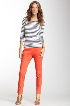 Solid bottom and strip shirt. Skinny Pant by Marrakech on @HauteLook
