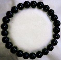 Achat Onyx schwarz Heilstein Perlen Armband