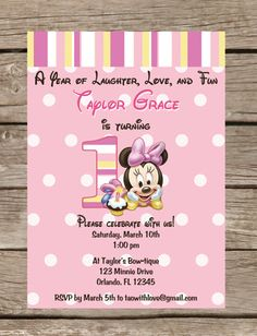 Baby Minnie Mouse First Birthday Invitation  by TaowithLove, $12.00