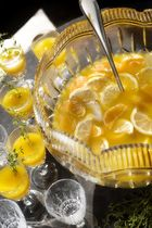 Ginger Snap Punch Cocktail Recipe:  1 part fresh lemon juice 1 part honey 1 3-inch piece of fresh ginger, peeled and sliced 6 parts fresh orange juice 4 parts pear nectar 4 par...