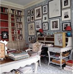 Love this home library - has a feminine touch not often seen in libraries. 50 Super ideas for your home library