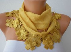 Mustard Scarf   Cotton  Scarf  Cowl Scarf  Shawl  with by fatwoman