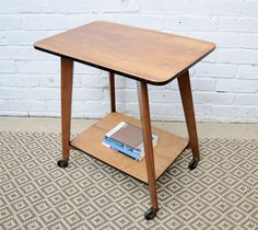 Table, Storage, Solid Oak, Retro Furniture, Low Shelves, Walnut Veneer, Home Decor, Vintage, Vintage Side Table