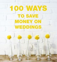 100 ways on how to save money on your wedding. How to save money on the reception, invitations, attire, ceremony, decorations, entertainment, food, and drink