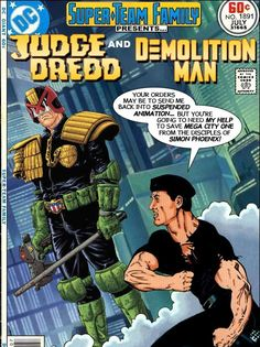 Sylvester Stallone as both Judge Dredd and Demolition Man Comic Book Characters, Comic Character, Comic Books Art, Comic Art, Book Art, Arte Dc Comics, Marvel Comics, Demolition Man, Suspended Animation