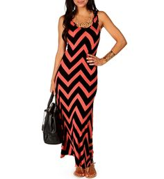 Coral/Black Chevron Maxi Dress