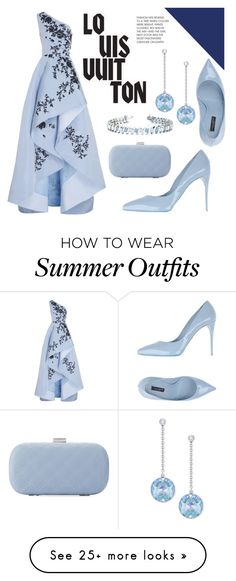 """Blue Dress"" by bethany-whisper on Polyvore featuring Monique Lhuillier, Dolce&Gabbana, La Sera, Allurez, Swarovski, Louis Vuitton and dress"