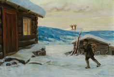 Gustav Wentzel Winter Mood in the Courtyard Lund, Ludwig, Baby Bottles, Finland, Art History, Landscape Paintings, Norway, Sweden, Illustration